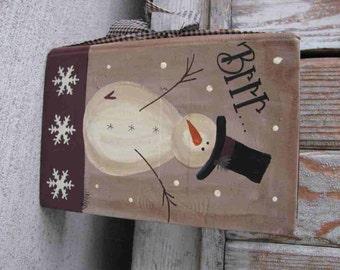 Primitive Brrr Snowman and Snowflakes Hand Painted Vintage Book GCC2637