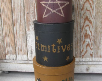 Primitive Saltbox Stars and Willow Large Round Set of 3 Stack Boxes GCC3551