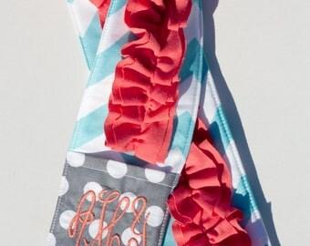 Monogrammed Ruffled Camera Strap Cover - Aqua Chevron/ Grey Dot and Coral