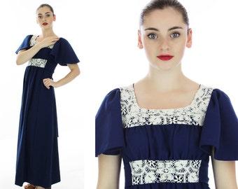60s Hippie Dress Vintage 70s Floral Lace Empire Waist Mod Boho Renaissance Prairie Flutter Sleeves Small S Medium M