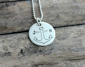 Sterling Silver Anchor necklace with anchor design and two initials , Hand stamped Jewelry, Nautical Jewelry, Long distance, Beach Jewelry
