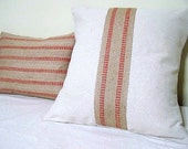 red stripe jute pillow cover / natural / canvas pillow / jute webbing / upholstery binding / cranberry red / christmas red /