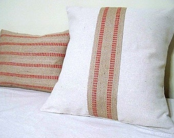 free shipping - red stripe jute pillow/ natural / canvas pillow / jute webbing / upholstery binding / cranberry red / christmas red /
