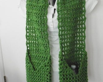 Pocket Scarf, Thick Winter Hometown Pocket Scarf, Single Color, Made to Order
