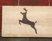 Red Nosed Reindeer Cutting Board or Serving Platter  maple hardwood with black walnut and cherry inlay with FREE wood conditioner