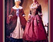 17TH CENTURY LADIES GOWN-Costume Sewing Pattern-Maid Dress-Boned-Lined Bodice-Pannier Style Skirt-Bonnet-Ruffles-Bows-Uncut-Size 10-14-Rare