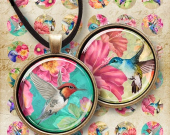 1 inch (25mm) and 1.5 inch Circle Images Printable Download HUMMINGBIRDS Digital Collage Sheet for pendants cabochons bottle caps bezels