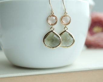 Champagne Peach, Olive Green Glass Framed Pear Jewel Drop Earrings. Bridesmaid Gifts. Modern Everyday. Maid Of Honor. Green Olive Wedding