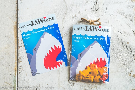 valentines day card shark - INSTANT DOWNLOAD Printable Classroom shark valentines cards