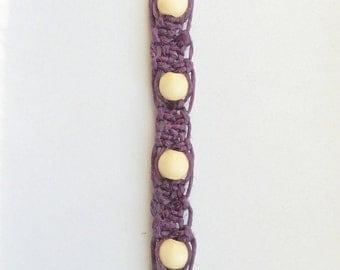 Purple Hemp Keyring with Wood Beads in Cream,ready to ship.