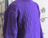 Men's Sweater Crew Neck Hand Knitted Amethyst Purple