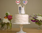 Wedding Cake Topper Set - Bride, Groom and Country Flag Hearts