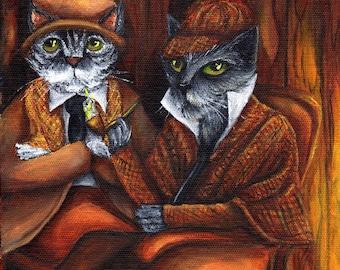 Sherlock Holmes and Watson, Cat Detectives in Study, 8x10 Fine Art Print
