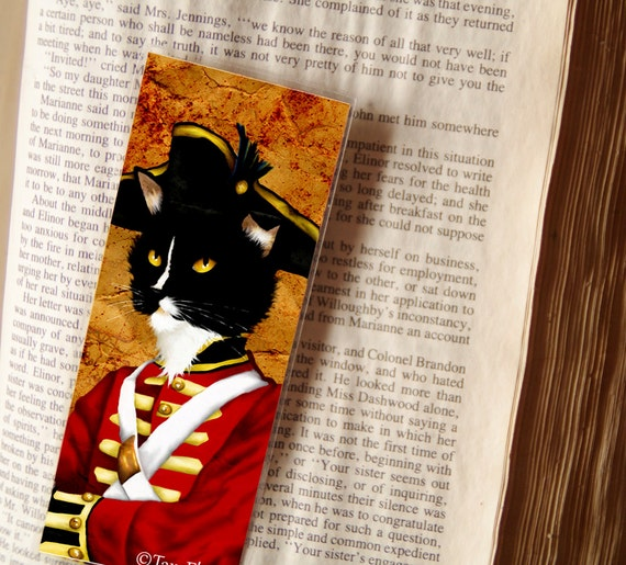 Tuxedo Cat Bookmark, Redcoat Soldier, Pride and Prejudice Laminated Bookmark