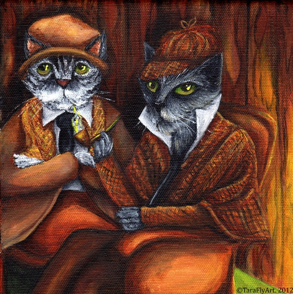 Sherlock Holmes and Watson, Cat Detectives in Study, 8x10 Fine Art Print