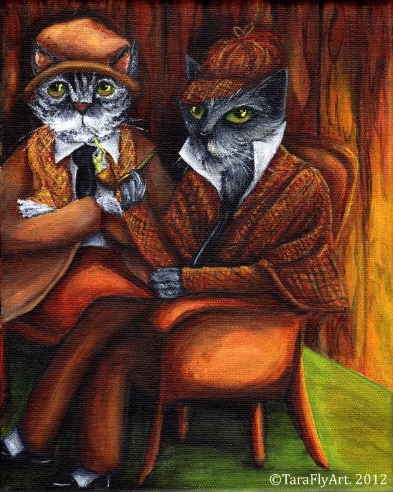 Sherlock Holmes Cat Art, Grey Cats Dressed as Detectives Fine Art Print 5x7