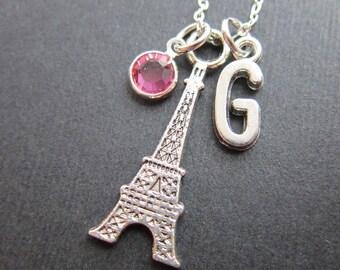 Eiffel Tower Paris Necklace - Personalized Initial Name, Customized Swarovski crystal birthstone
