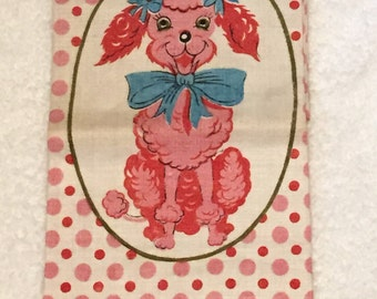 RARE Vintage Pink Poodle Aqua Turquoise Blue 1950s Mid-Century Modern Towel Polka Dots Retro Kitsch