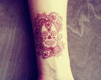 2 Temporary Henna Tattoos Sugar Skull Day of the Dead Día de los Muertos