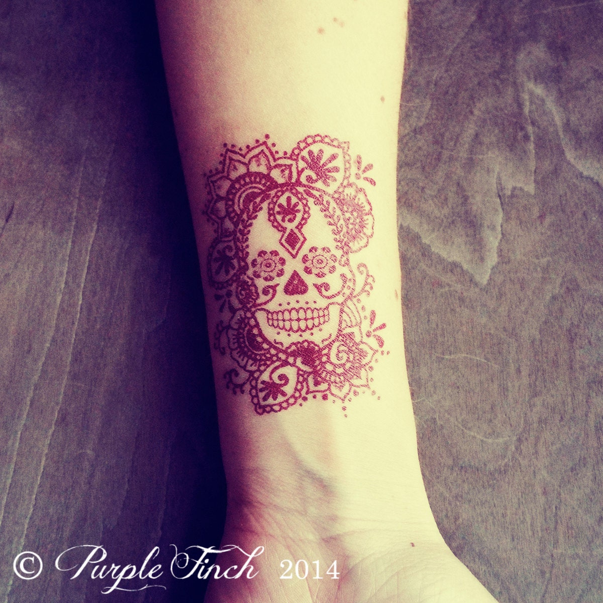 2 temporary henna tattoos sugar skull day of the dead d 237 a de