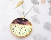 Thunderstorm Locket Necklace - Gold