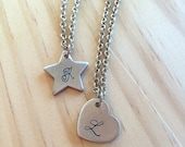Heart Charm, Star Charm, Initial Necklace, Handstamped Necklace, Hand Stamped Necklace, Monogram, Initial, Personalized Jewerly