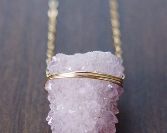 SALE Lavender Spirit Quartz Druzy Necklace
