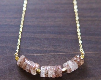 SALE 25% OFF: Peach Quartz Nugget Necklace - 14k Gold Fill