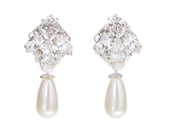 Pearl and Crystal Wedding Earrings Vintage Bridal Earrings Small Chandelier Earrings Swarovski Crystal Pearl Wedding Jewelry