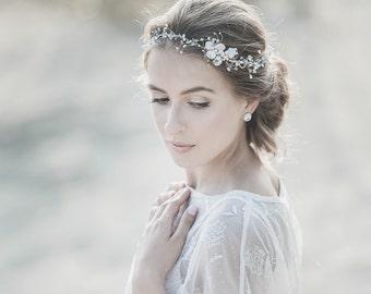 Wedding Headband , Bridal Hair Accessories ,Pearl Wedding Headband ,Bridal  Headpiece ,Bridal Hair Vine , Opal Swarovski Boho Headpiece