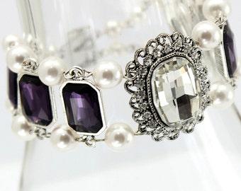 Eggplant Purple Bracelet,Cuff Double Strand Bracelet, Amethyst Crystal Jewelry,White Pearl Jewelry,Bridesmaids Wedding Bracelet,Victorian