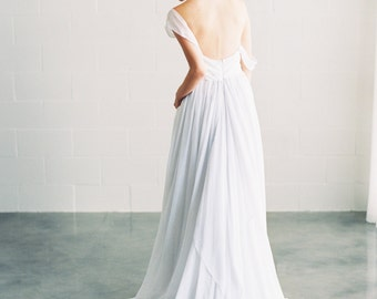 Ivy - Silk Chiffon Grey Wedding Dress