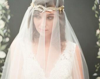 Parisa with Veil; vine and crystal detailing