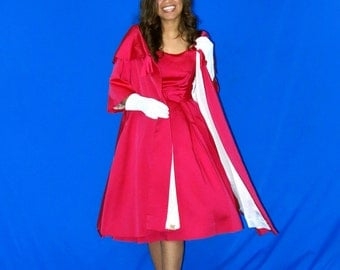 Red Satin Dress with Swing Coat Stunning and Fabulous