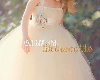 Ivory Champagne Flower Girl Tutu Dress with Flower Sash and Lace Cap Sleeves