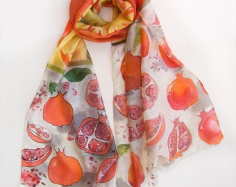 Pomegranates silk scarf, Hand painted scarf SIlk Shawl Fruits scarf Yellow Red Bright shawl Painted scarves Handpainted shawl Holidays gift