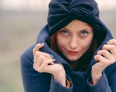 Black turban cloche hat  in soft viscose jersey with a twist, vintage look