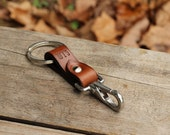 Personalized leather keychain with stainless steel snap hook, valet - groomsmen gift idea key fob