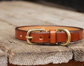 "Small dog plain narrow leather collar 5/8"" or 3/4"" wide"