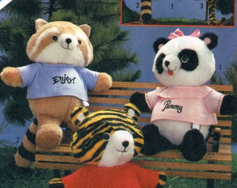 Vintage 80s Simplicity 6053 Shirt Tails Stuffed Animals-Bear, Tiger, Panda Sewing Craft Pattern
