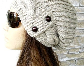 Womens Knit Slouchy  Hat -  Slouchy Beanie   Winter Hat - Women Hat-  Women Winter  Accessories  beige  Hat  Oversized Hat  Christmas Gift