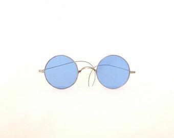 Antique Round John Lennon Glasses Blue Lens Spectacles Eyeglass Frame Goggles Steampunk Optical Saddle Bridge Metal Almost Famous
