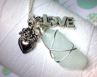 Love With Your Heart - sea glass necklace / heart charm necklace /seaglass necklace /ecofriendly jewelry /valentine jewelry / heart necklace