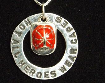 Firefighter Hero Necklace, Not all heroes wear capes necklace, Firefighter wife necklace, Firefighter mom necklace, gift for wife