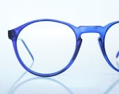 1980s Round Eyeglasses Oversized Womens Mens Unisex Glasses P3 Keyhole Bridge Indie 80s Hipster Chic Cobalt Blue Sea Light Navy Geek Nerdy