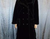 "Vintage 60's -  Betty Rose -Black -Faux Fur - Trapeze - Swing - Mod- Warm - Winter - Double Front Button - Maxi - Coat - Jacket - bust 42"""