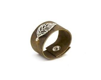 Leaf Leather Bracelet Bangle Cuff - Nature Jewelry - Distressed Leather Cuff