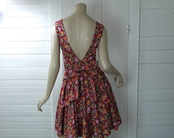 80s Floral Party Dress by Laura Ashley- 1980s- Red & Apricot Cotton Print- Backless + Bow- Small