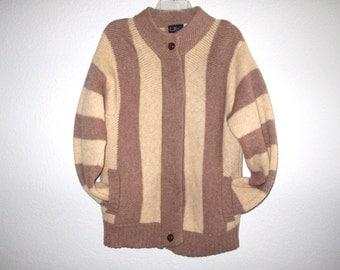Sweater Coat 80s Vintage, Winter Wool Stripes, LeRoy Zipper Slouchy Sweater, Le Roy Wool Jumper Brown Tan M