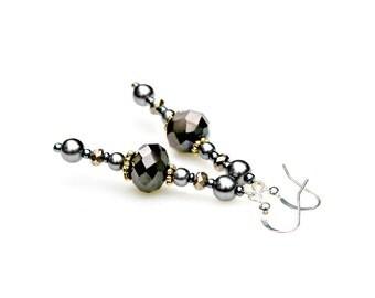 Black Earrings Dark Gray Earrings Crystal Earrings Pearl Earrings Long Dangel Earrings Victorian Elegant Earrings Classic Earrings Mei Faith